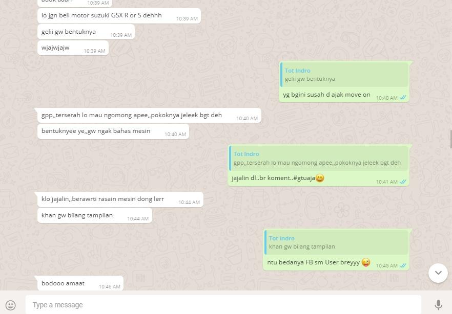 Chat tampilan motor